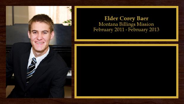 February 2011 to February 2013<br/>Elder Corey Baer