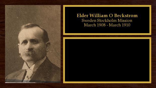 March 1908 to March 1910<br/>Elder William O Beckstrom