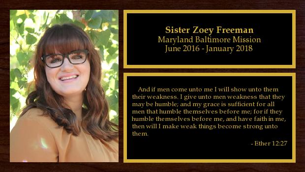 June 2016 to January 2018<br/>Sister Zoey Freeman
