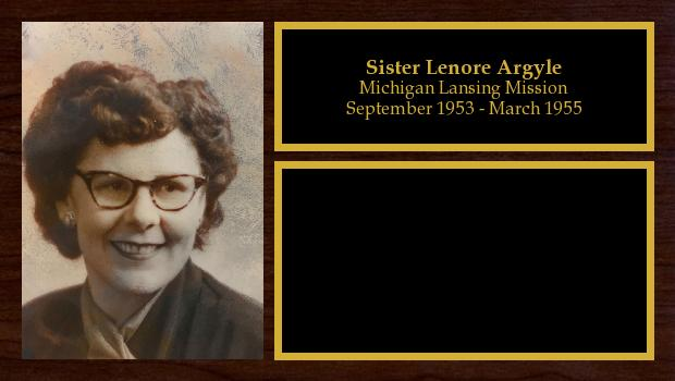September 1953 to March 1955<br/>Sister Lenore Argyle
