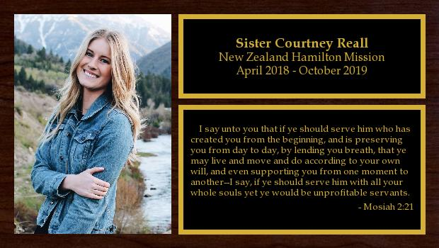 April 2018 to October 2019<br/>Sister Courtney Reall