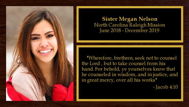 June 2018 to December 2019<br/>Sister Megan Nelson
