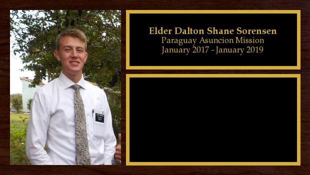 January 2017 to January 2019<br/>Elder Dalton Shane Sorensen