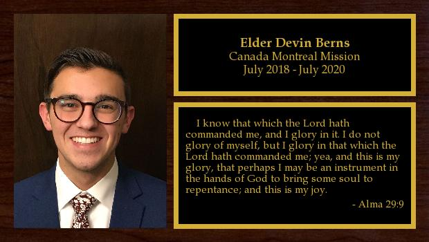 July 2018 to February 2019<br/>Elder Devin Berns