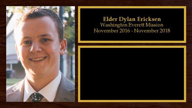 November 2016 to November 2018<br/>Elder Dylan Ericksen