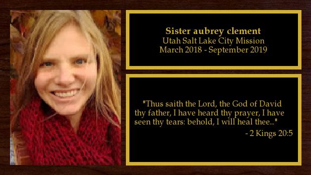 March 2018 to September 2019<br/>Sister Aubrey Clement