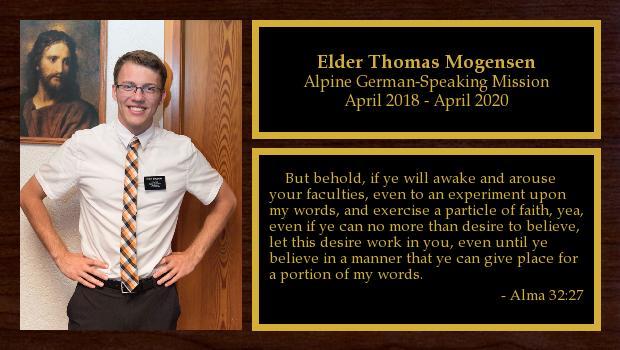 April 2018 to April 2020<br/>Elder Thomas Mogensen