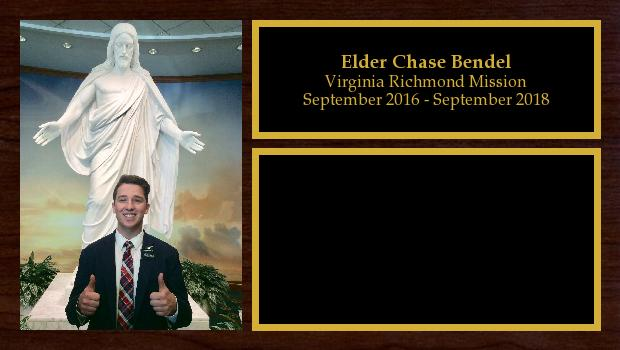 September 2016 to September 2018<br/>Elder Chase Bendel