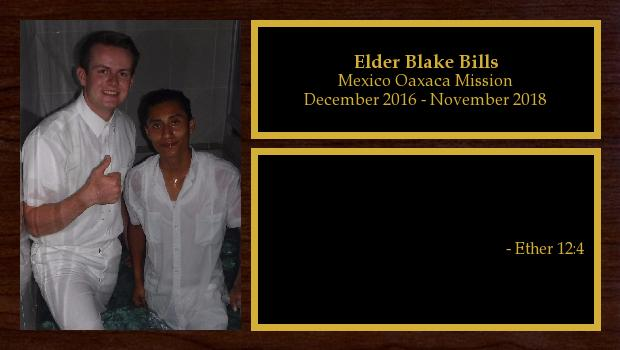 December 2016 to November 2018<br/>Elder Blake Bills