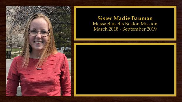 March 2018 to September 2019<br/>Sister Madie Bauman