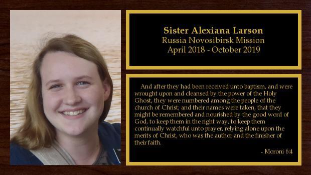 April 2018 to October 2019<br/>Sister Alexiana Larson
