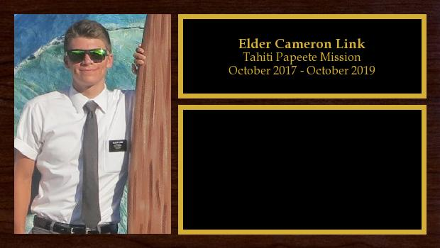 October 2017 to October 2019<br/>Elder Cameron Link