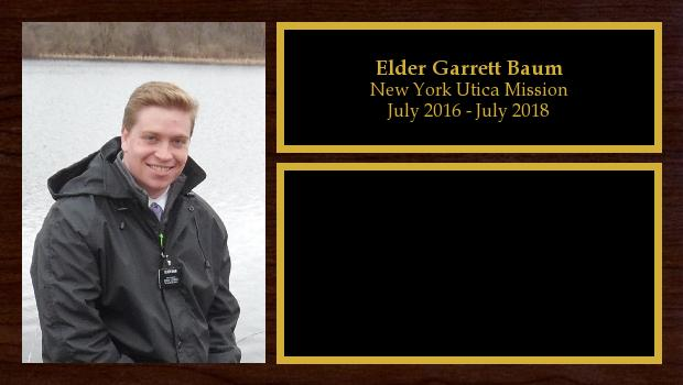 July 2016 to July 2018<br/>Elder Garrett Baum