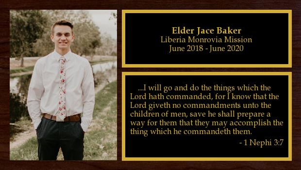 June 2018 to June 2020<br/>Elder Jace Baker