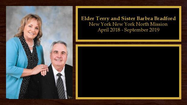 April 2018 to September 2019<br/>Elder Terry and Sister Barbra Bradford