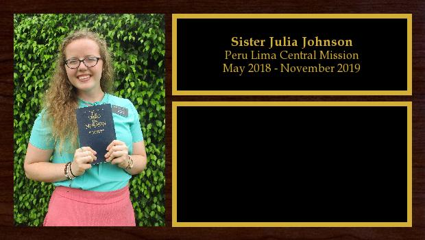 May 2018 to November 2019<br/>Sister Julia Johnson