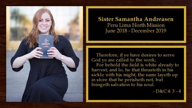 June 2018 to December 2019<br/>Sister Samantha Andreasen
