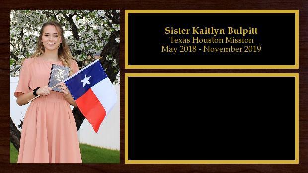 May 2018 to November 2019<br/>Sister Kaitlyn Bulpitt