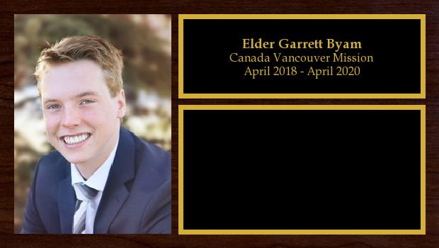 April 2018 to April 2020<br/>Elder Garrett Byam