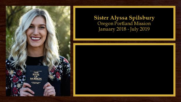 January 2018 to July 2019<br/>Sister Alyssa Spilsbury