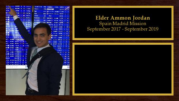 September 2017 to September 2019<br/>Elder Ammon Jordan