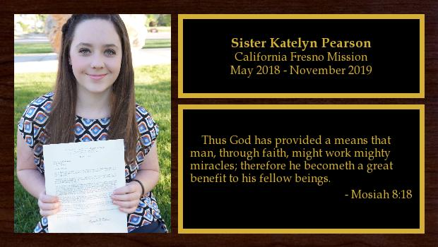 May 2018 to December 2019<br/>Sister Katelyn Pearson
