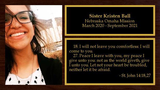 March 2020 to September 2021<br/>Sister Kristen Ball
