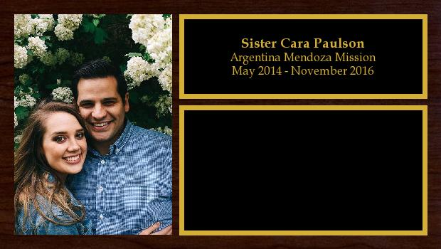 May 2014 to November 2016<br/>Sister Cara Paulson