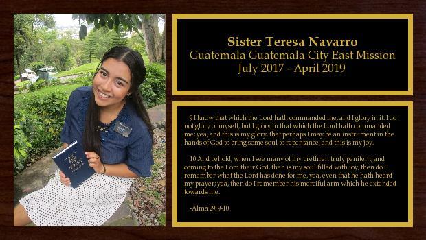 July 2017 to April 2019<br/>Sister Teresa Navarro