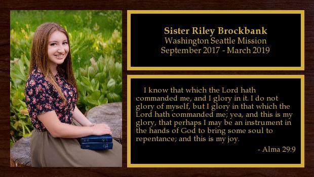 September 2017 to March 2019<br/>Sister Riley Brockbank