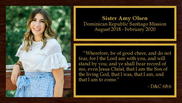 August 2018 to February 2020<br/>Sister Bryn Olsen