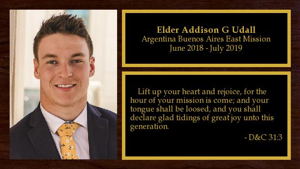June 2018 to May 2020<br/>Elder Addison G Udall