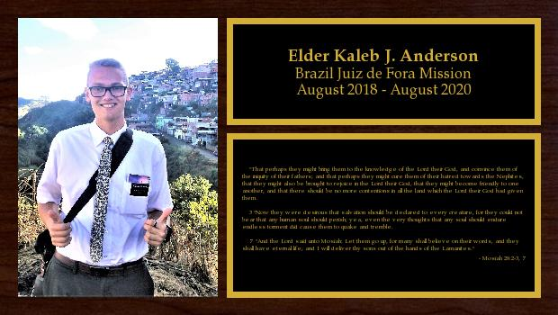 August 2018 to August 2020<br/>Elder Kaleb J. Anderson