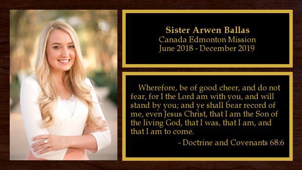 June 2018 to December 2019<br/>Sister Arwen Ballas