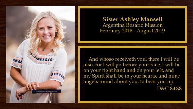 February 2018 to August 2019<br/>Sister Ashley Mansell