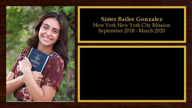 September 2018 to March 2020<br/>Sister Bailee Gonzalez