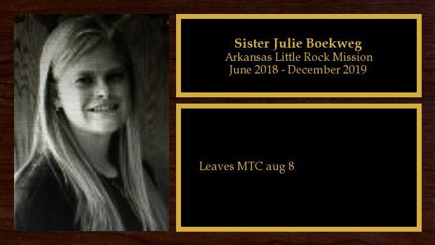 June 2018 to December 2019<br/>Sister Julie Boekweg