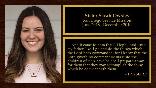 June 2018 to December 2019<br/>Sister Sarah Owsley