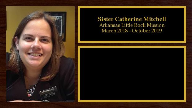 March 2018 to October 2019<br/>Sister Catherine Mitchell