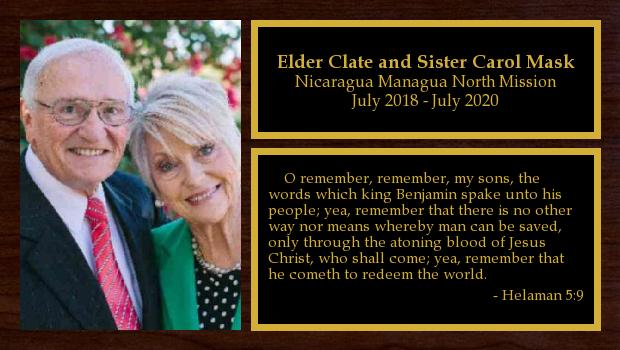 July 2018 to July 2020<br/>Elder Clate and Sister Carol Mask