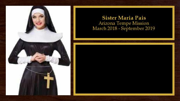 March 2018 to September 2019<br/>Sister Maria Pais