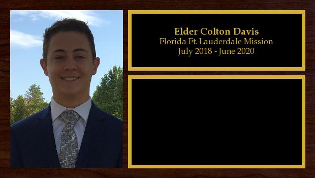 July 2018 to July 2020<br/>Elder Colton Davis