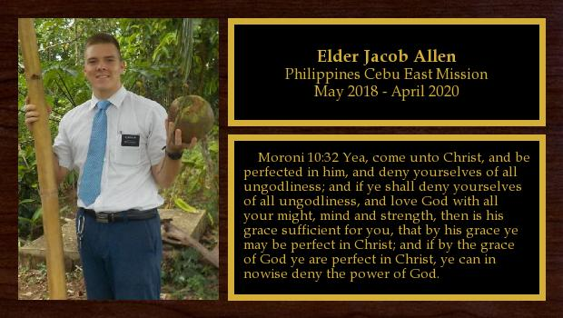 May 2018 to April 2020<br/>Elder Jacob Allen
