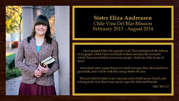 February 2013 to August 2014<br/>Sister Eliza Andreasen