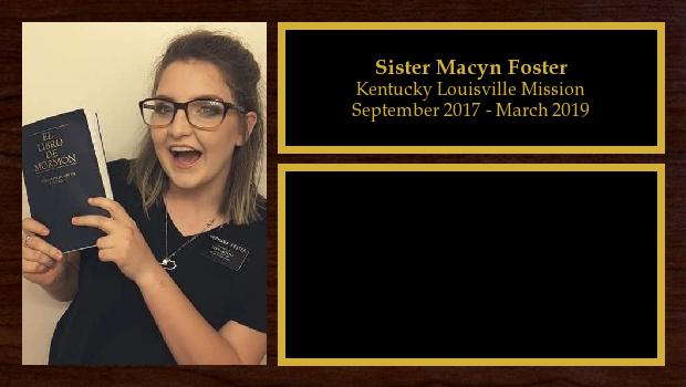 September 2017 to March 2019<br/>Sister Macyn Foster