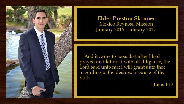 January 2015 to January 2017<br/>Elder Preston Skinner
