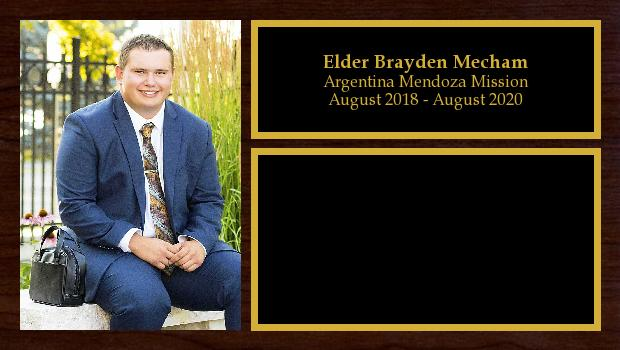 August 2018 to August 2020<br/>Elder Brayden Mecham