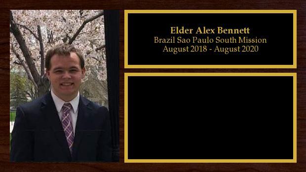 August 2018 to July 2020<br/>Elder Alex Bennett