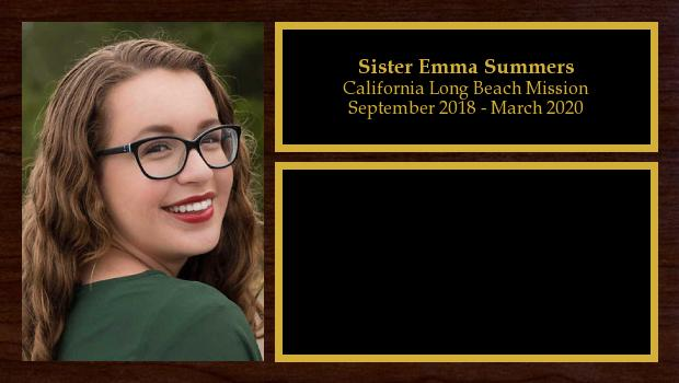September 2018 to March 2020<br/>Sister Emma Summers