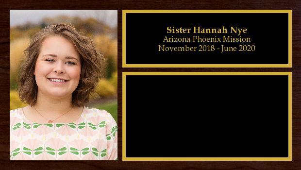 November 2018 to June 2020<br/>Sister Hannah Nye